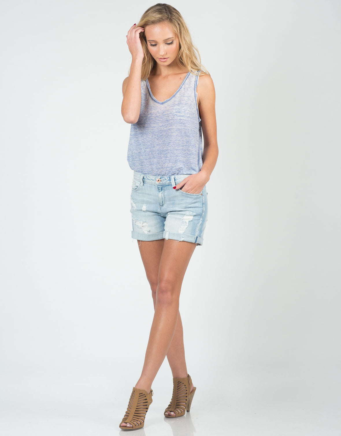 Front View of Relaxed Boyfriend Denim Shorts