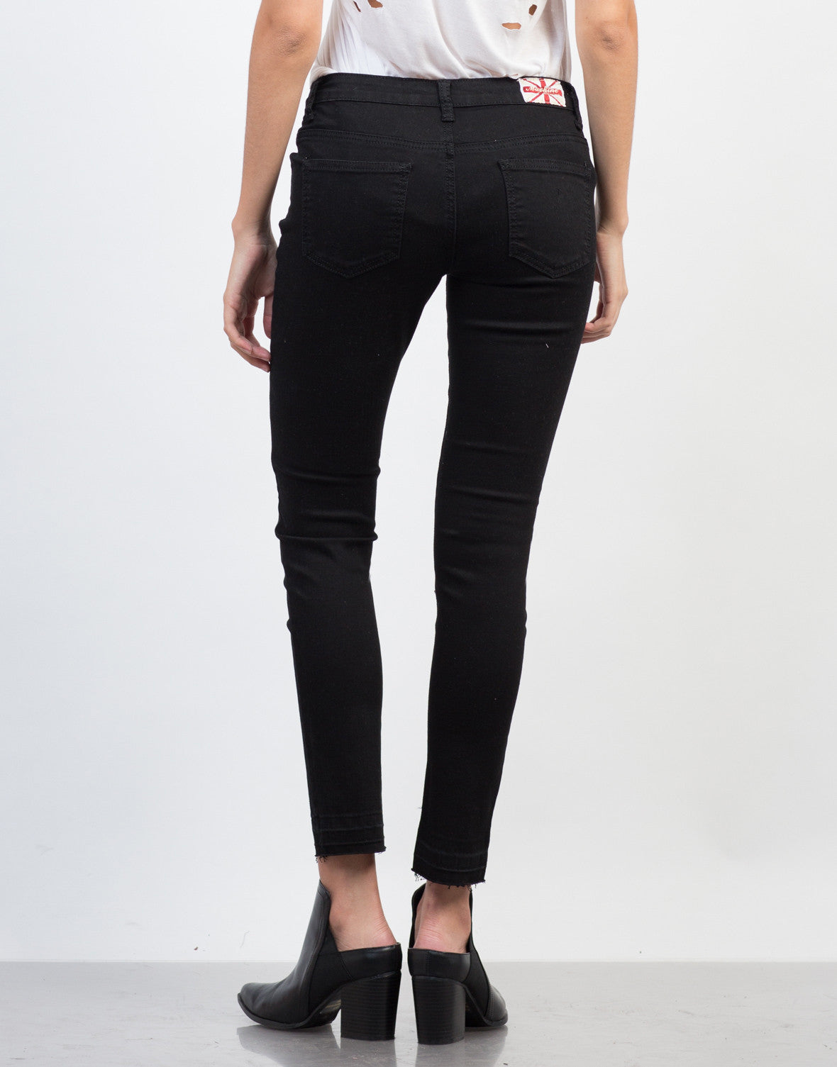 Back View of Release Those Hemlines Skinny Jeans