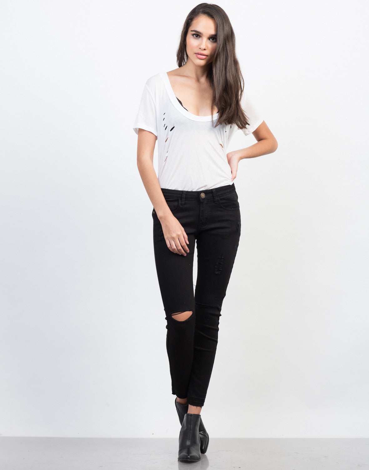 Front View of Release Those Hemlines Skinny Jeans
