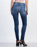 Back View of Released Cuff High Waisted Skinny Jeans