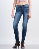 Front View of Released Cuff High Waisted Skinny Jeans