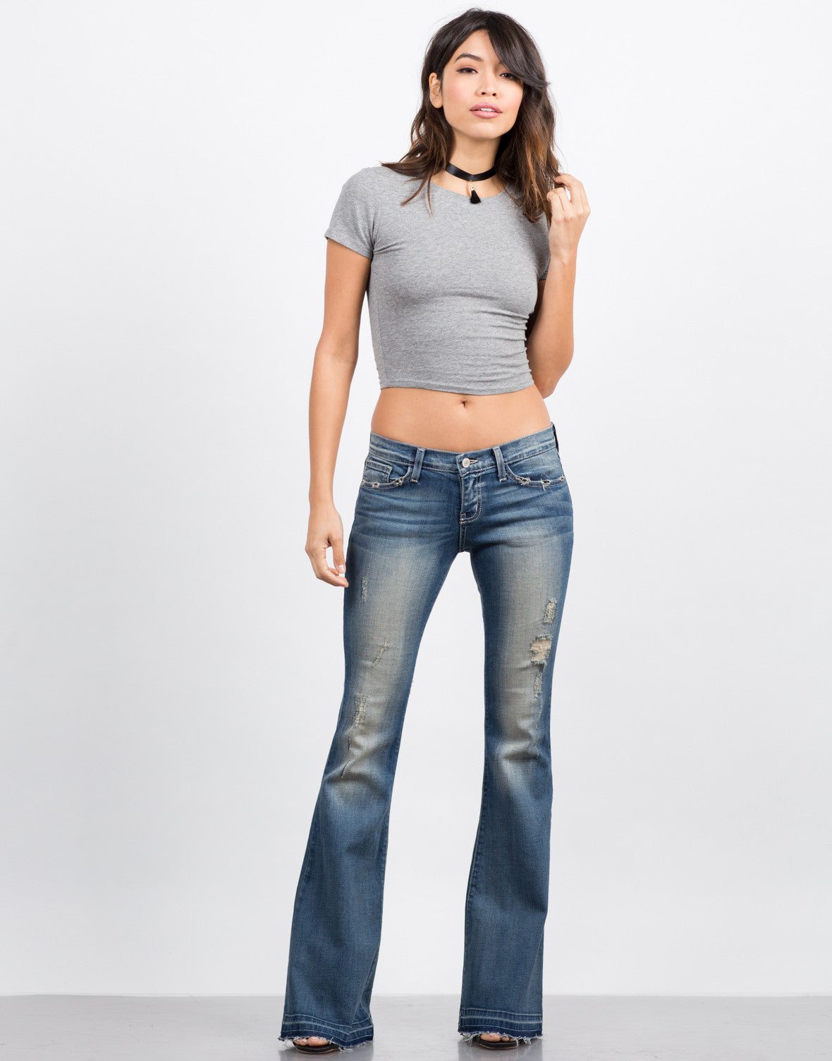 Front View of Released Hem Flared Jeans