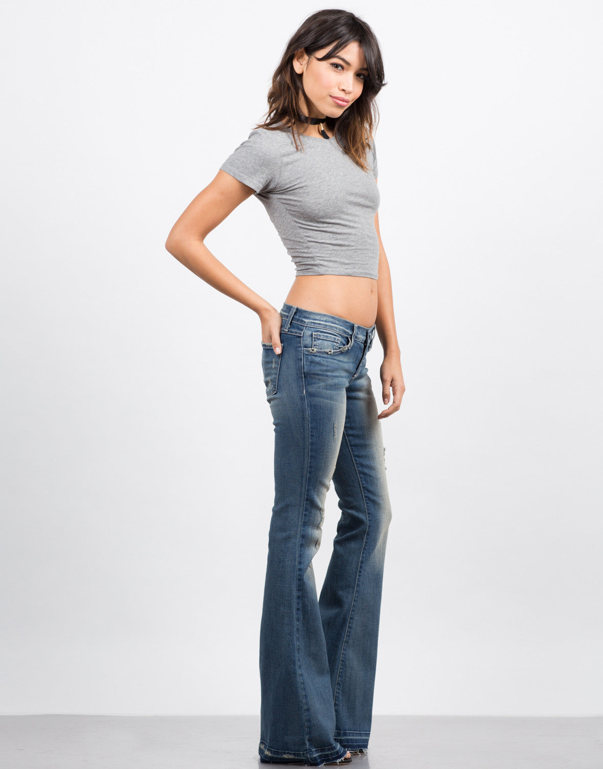 Side View of Released Hem Flared Jeans