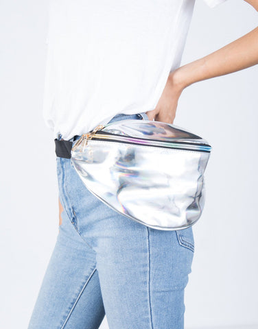 Silver Retro Daze Fanny Pack - Side View