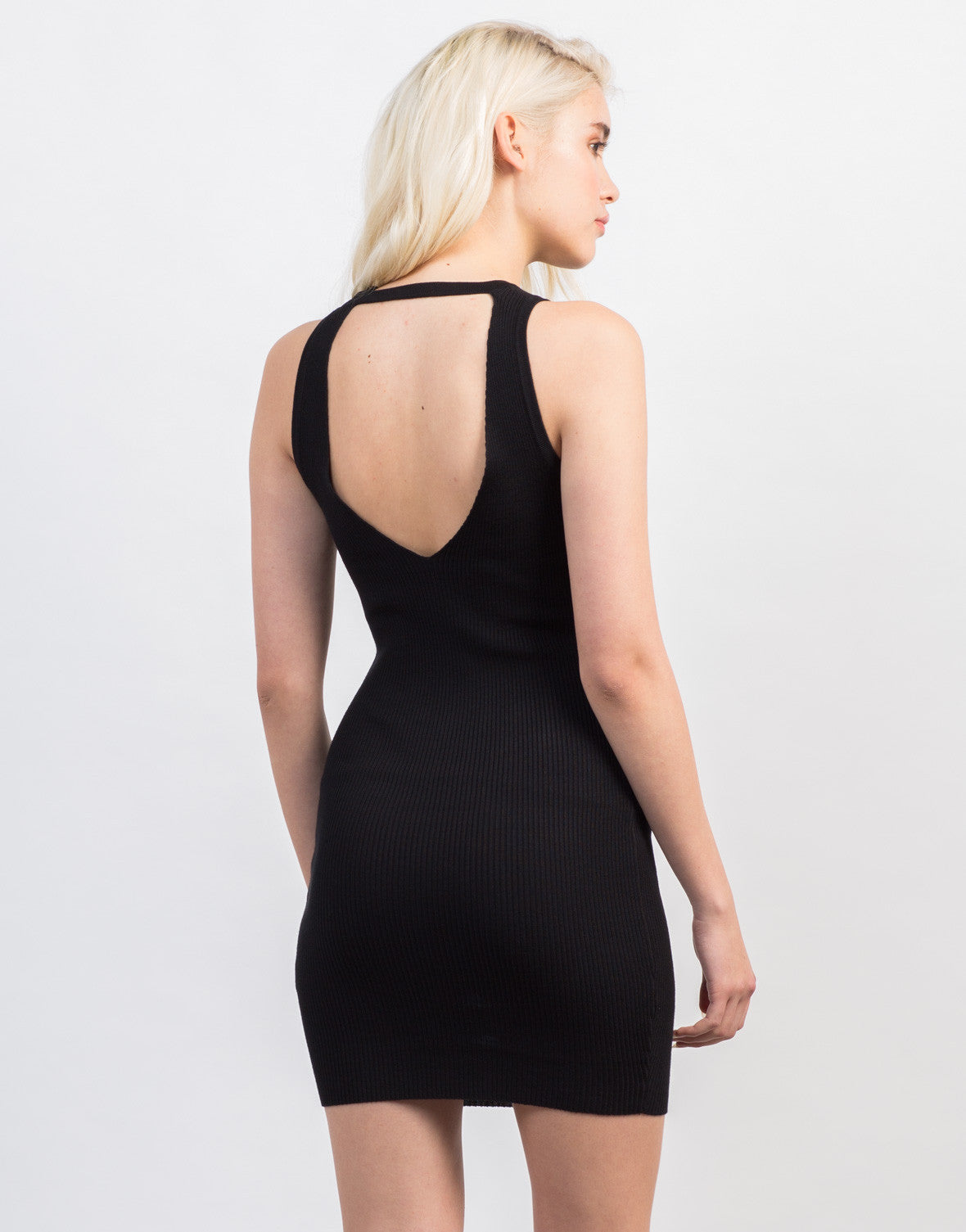 Back View of Rib Knit Bodycon Dress
