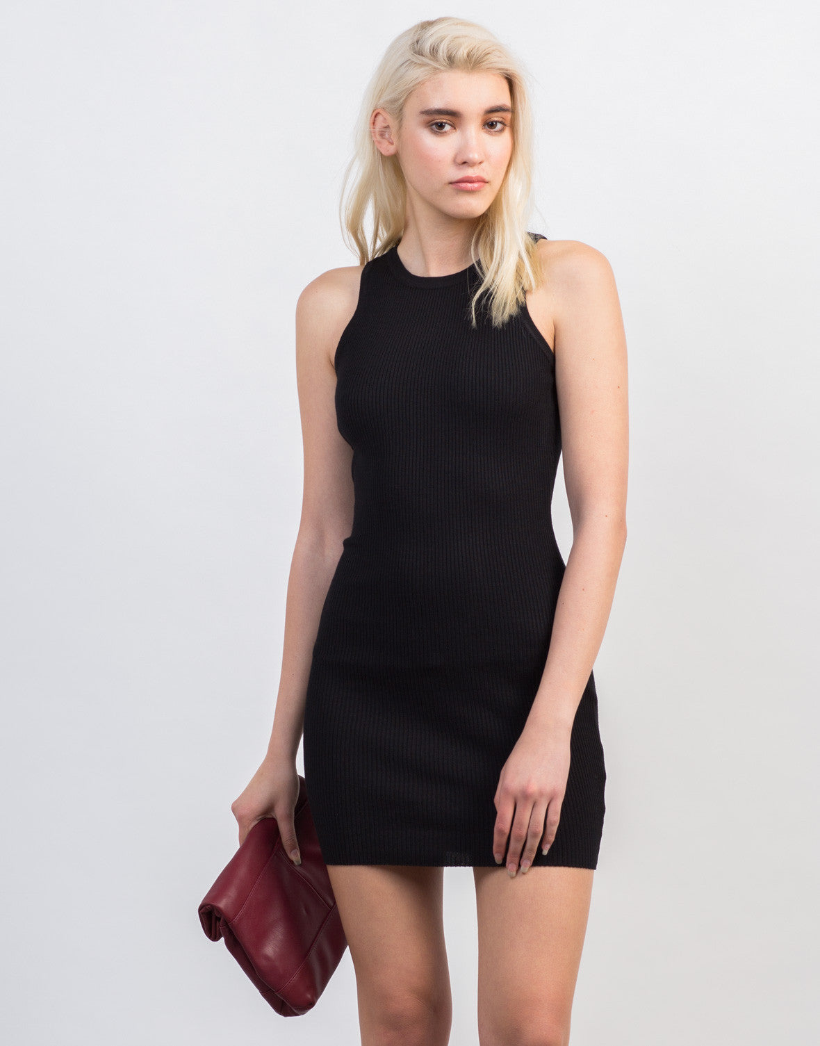Front View of Rib Knit Bodycon Dress