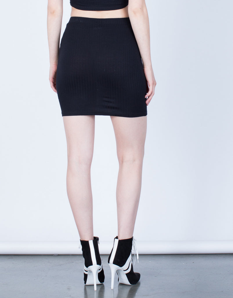 Back  View of Rib Knit Bodycon Skirt