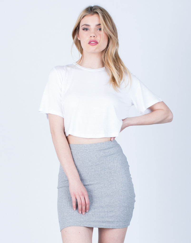 Front View of Rib Knit Bodycon Skirt