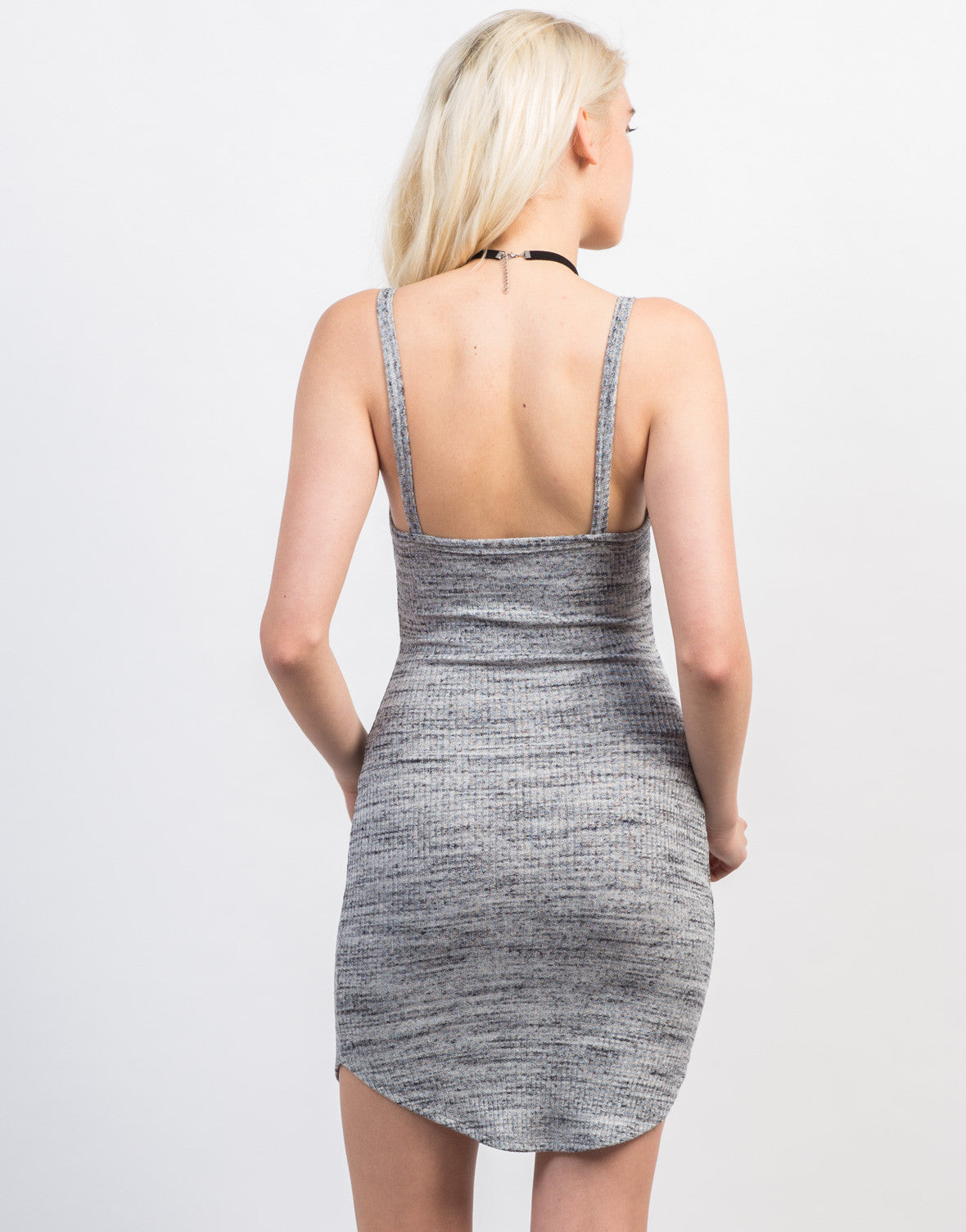 Back View of Rib Knit Button Cami Dress