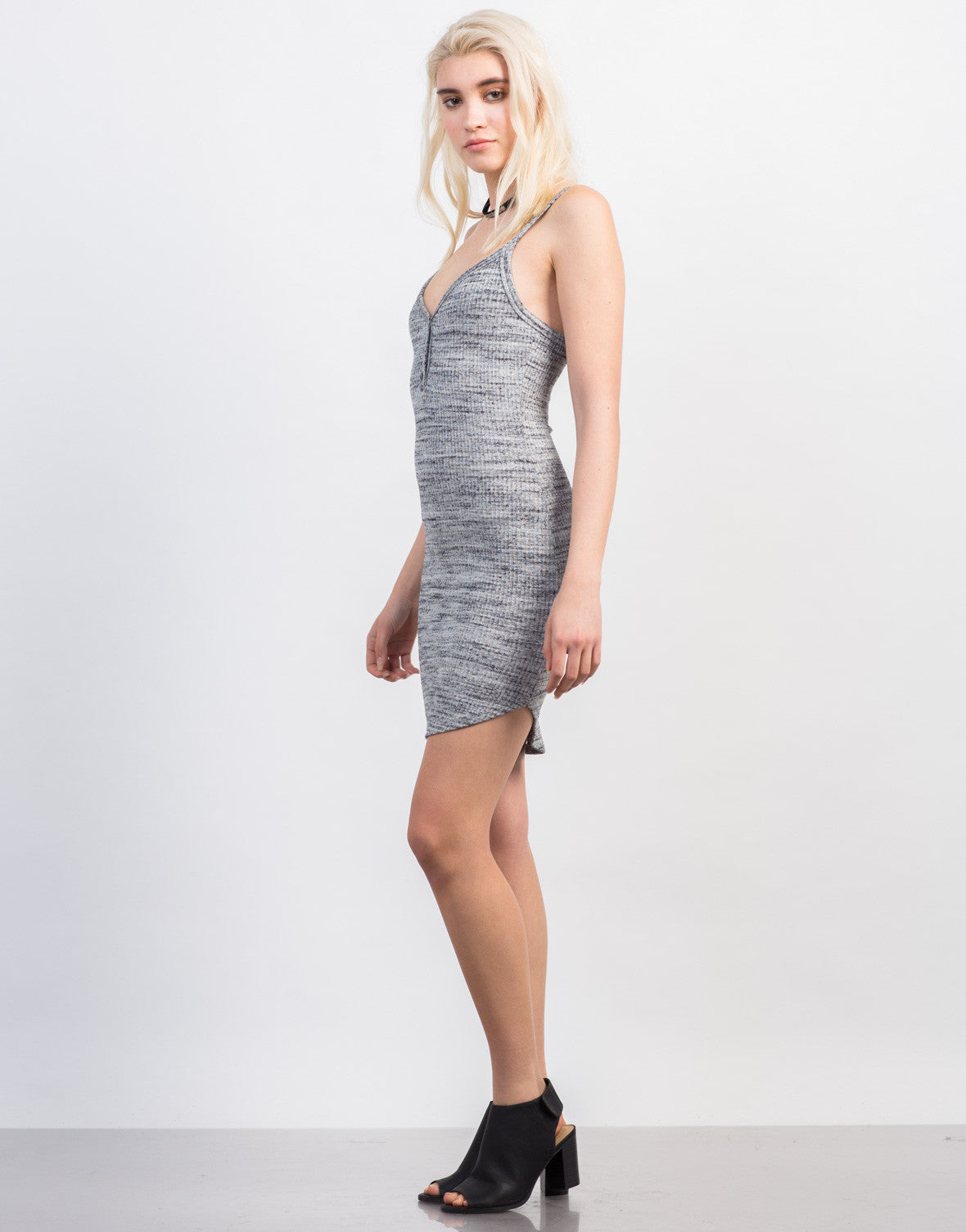 Side View of Rib Knit Button Cami Dress