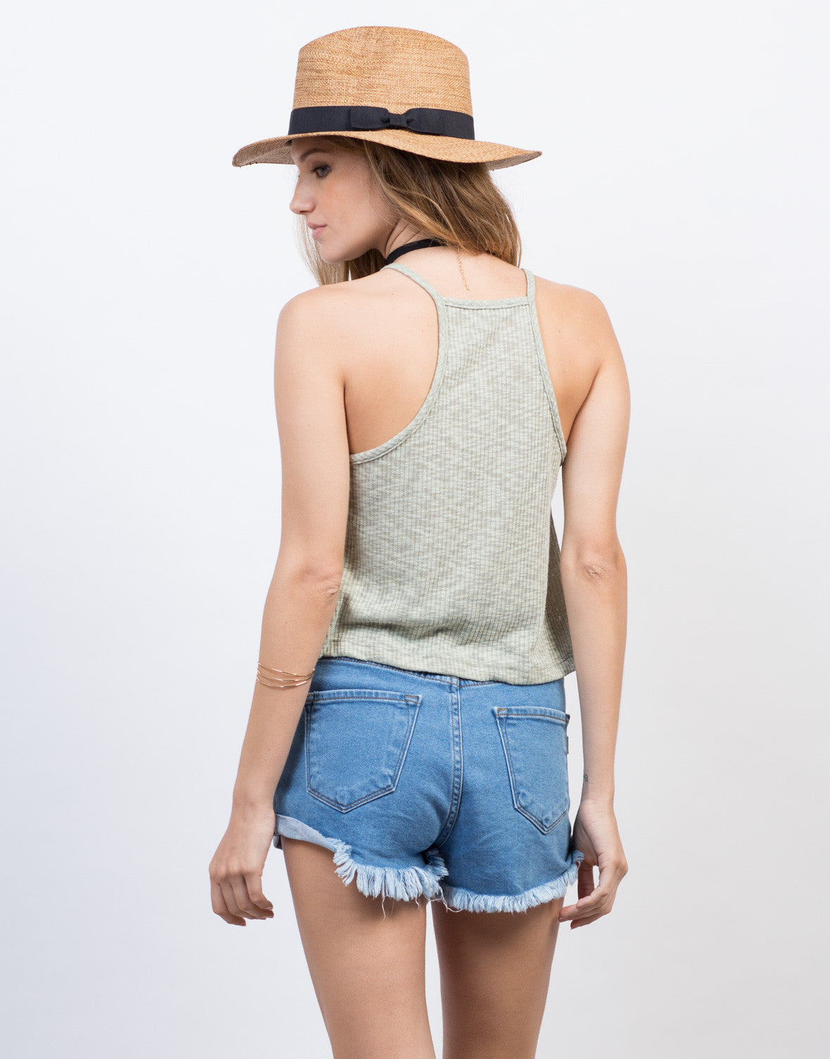 Back View of Rib Knit Cami Swing Top