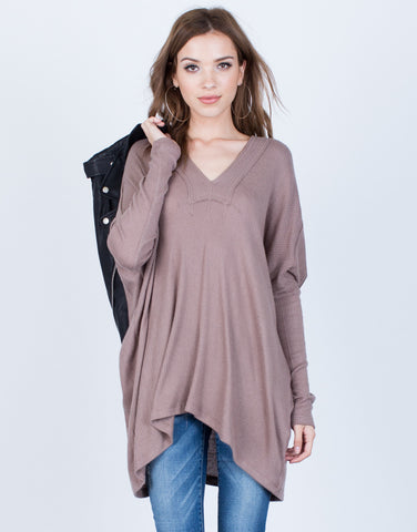 Front View of Rib Knit Dolman Tunic