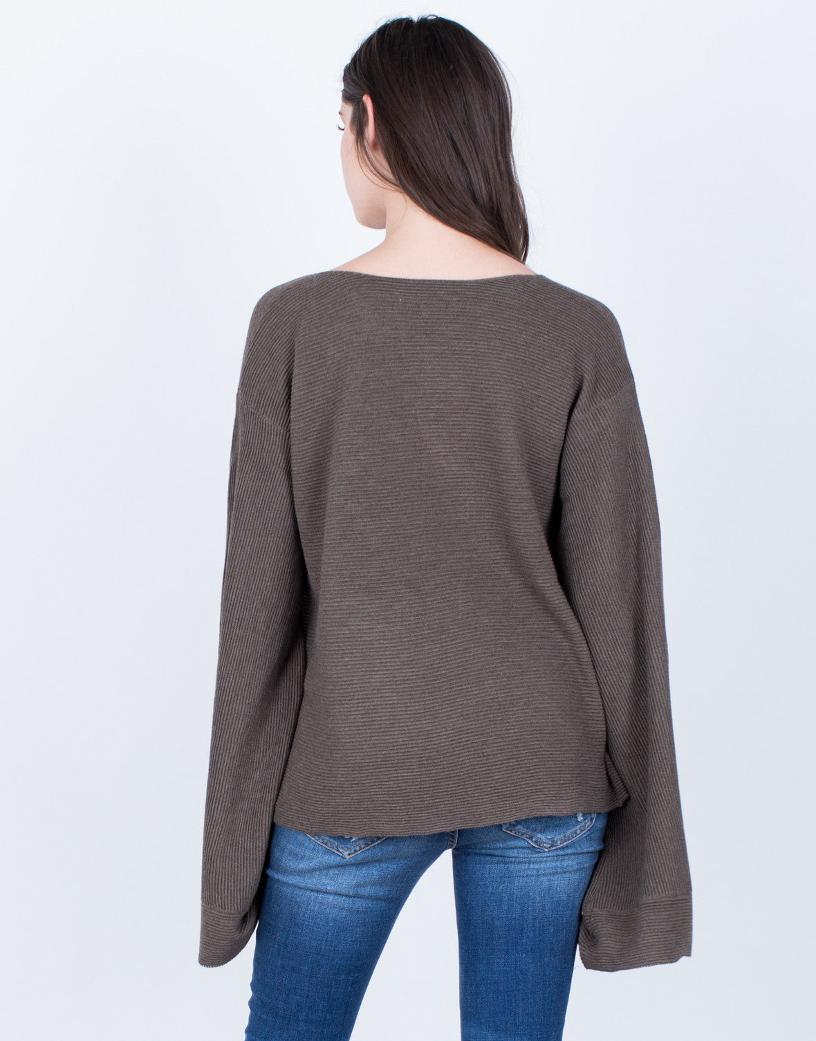 Back View of Rib Knit Extreme Sleeves Top