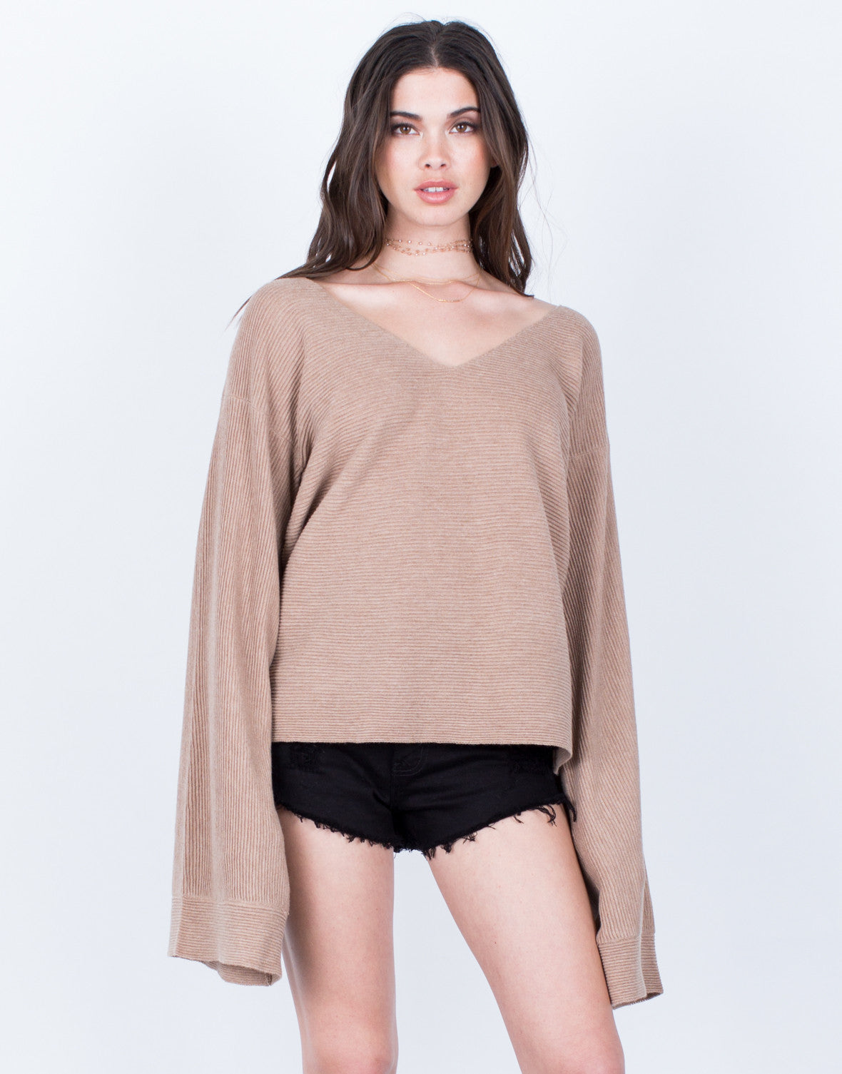 Front View of Rib Knit Extreme Sleeves Top