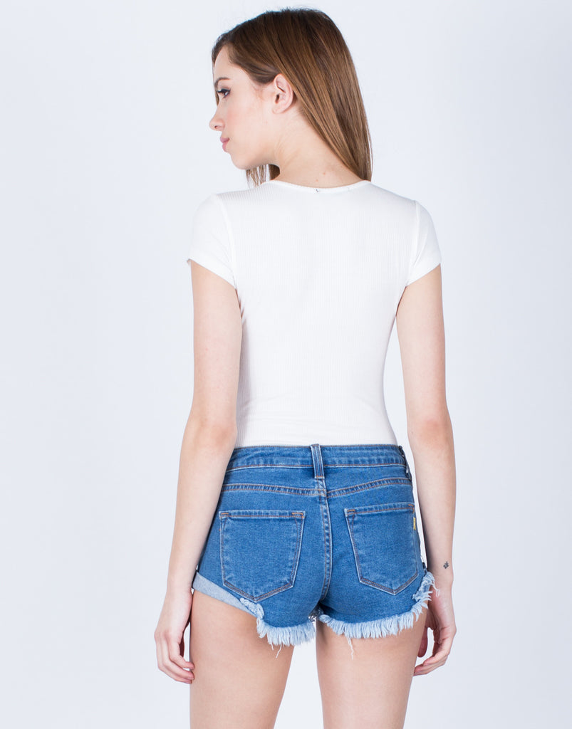 Back View of Rib Knit Lace-Up Bodysuit