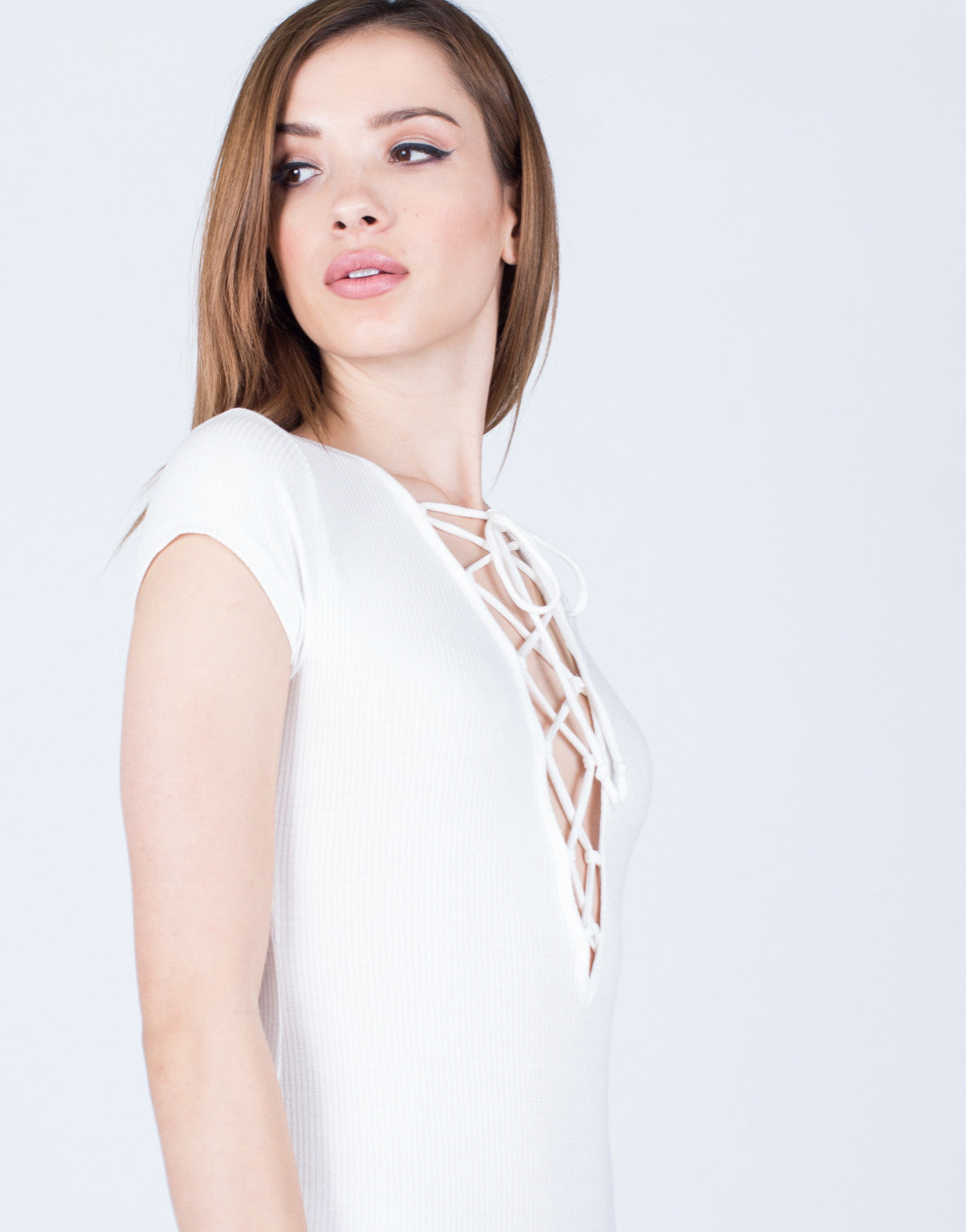 Detail of Rib Knit Lace-Up Bodysuit