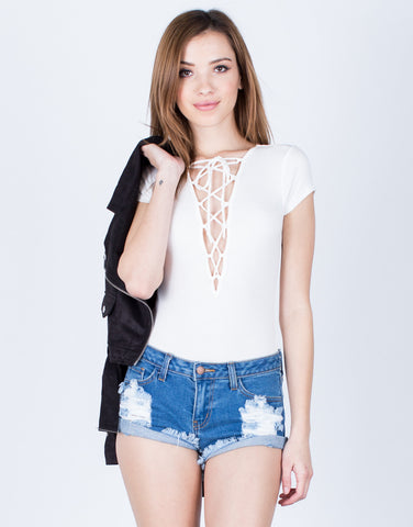 Front View of Rib Knit Lace-Up Bodysuit
