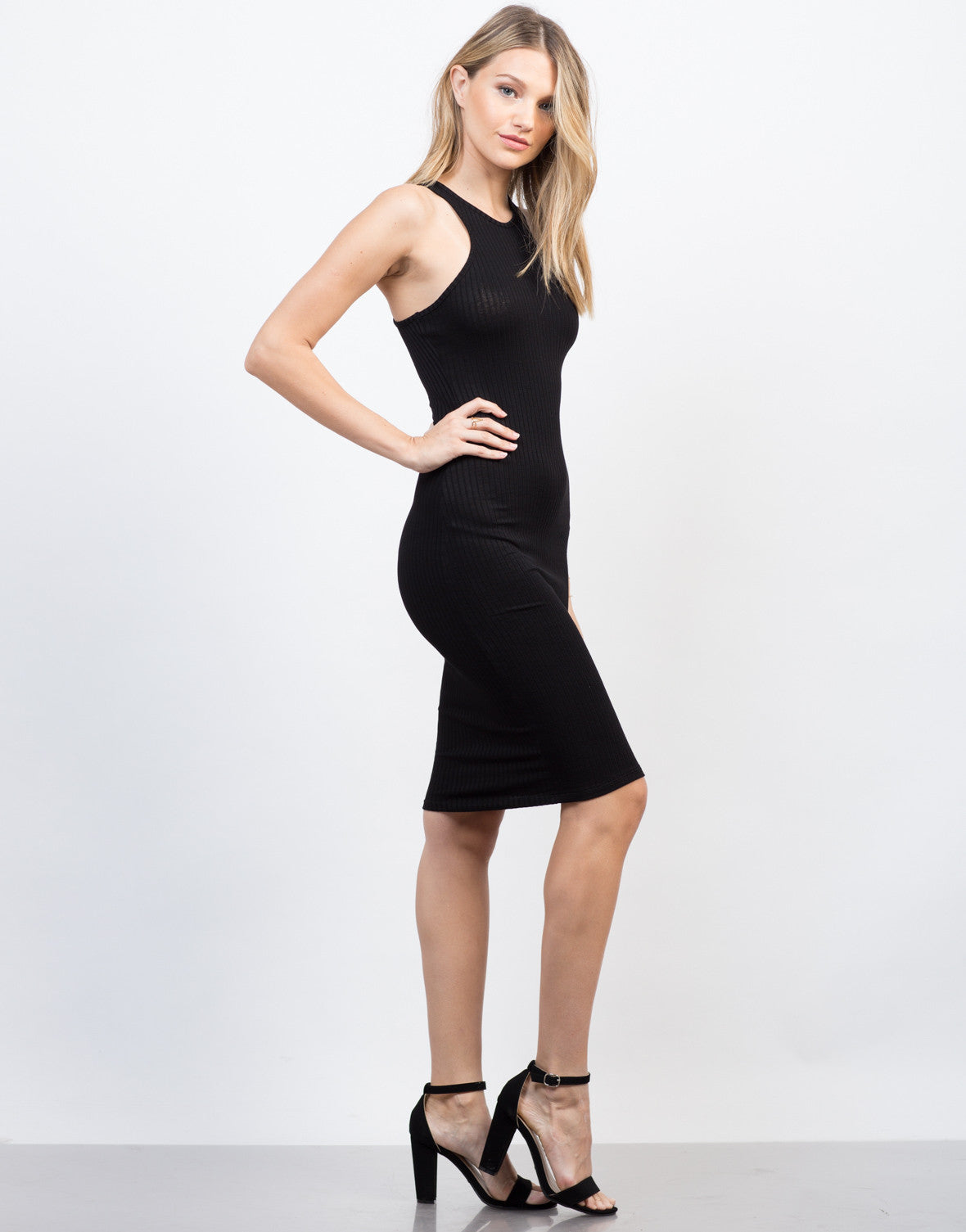Side View of Rib Knit Midi Tank Dress