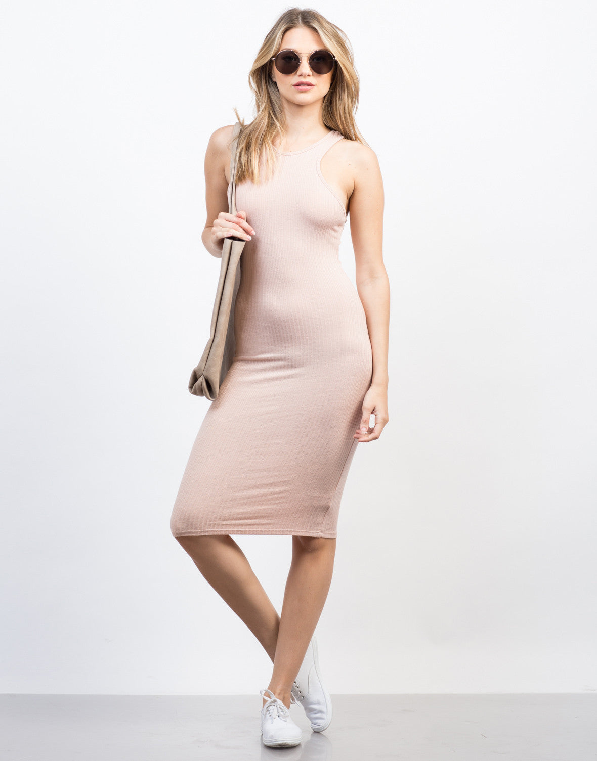 Front View of Rib Knit Midi Tank Dress
