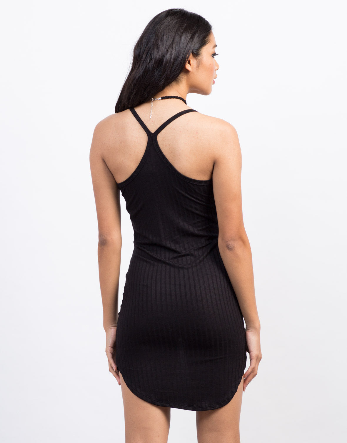 Back View of Rib Knit Racerback Tunic Dress
