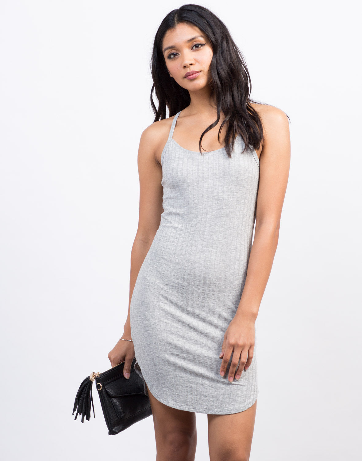 Front View of Rib Knit Racerback Tunic Dress