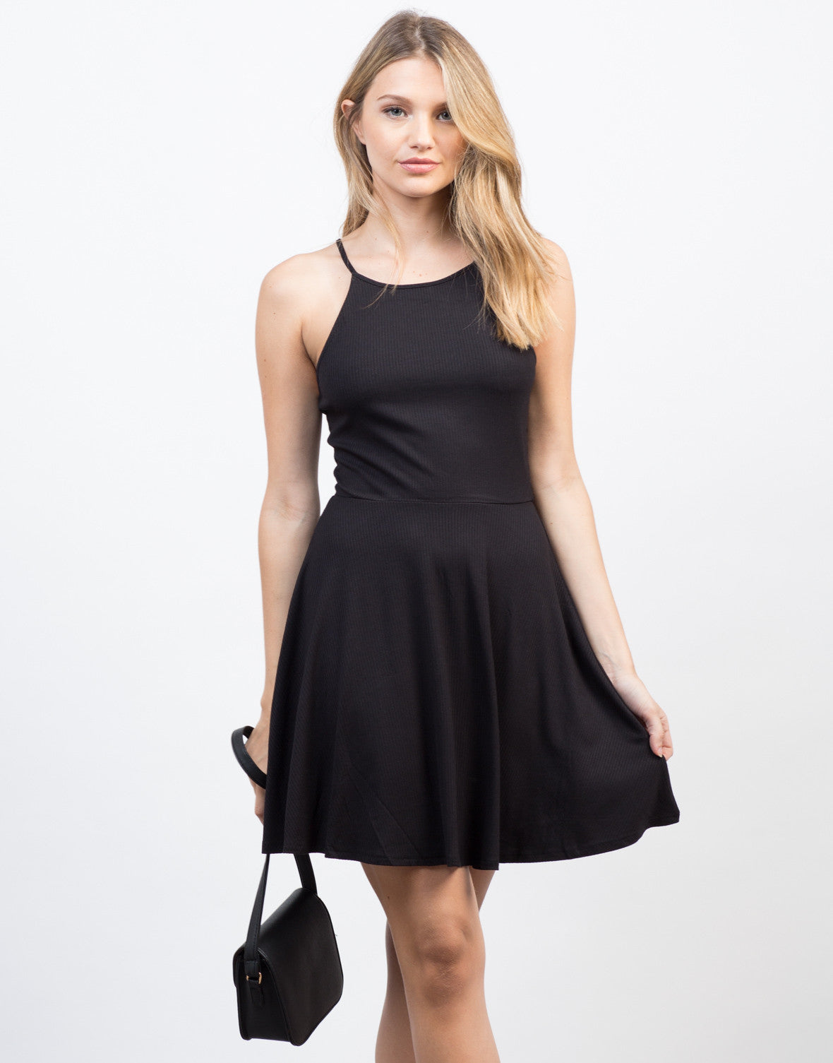 Front View of Rib Knit Skater Dress