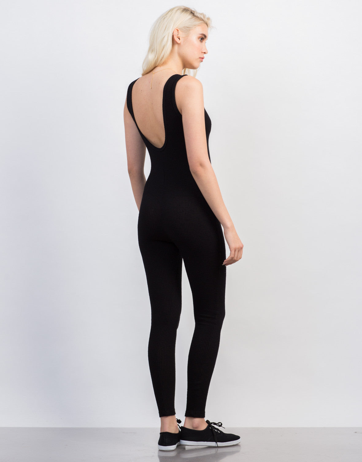 Back View of Rib Knit Tank Jumpsuit