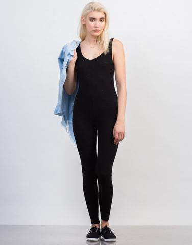Front View of Rib Knit Tank Jumpsuit