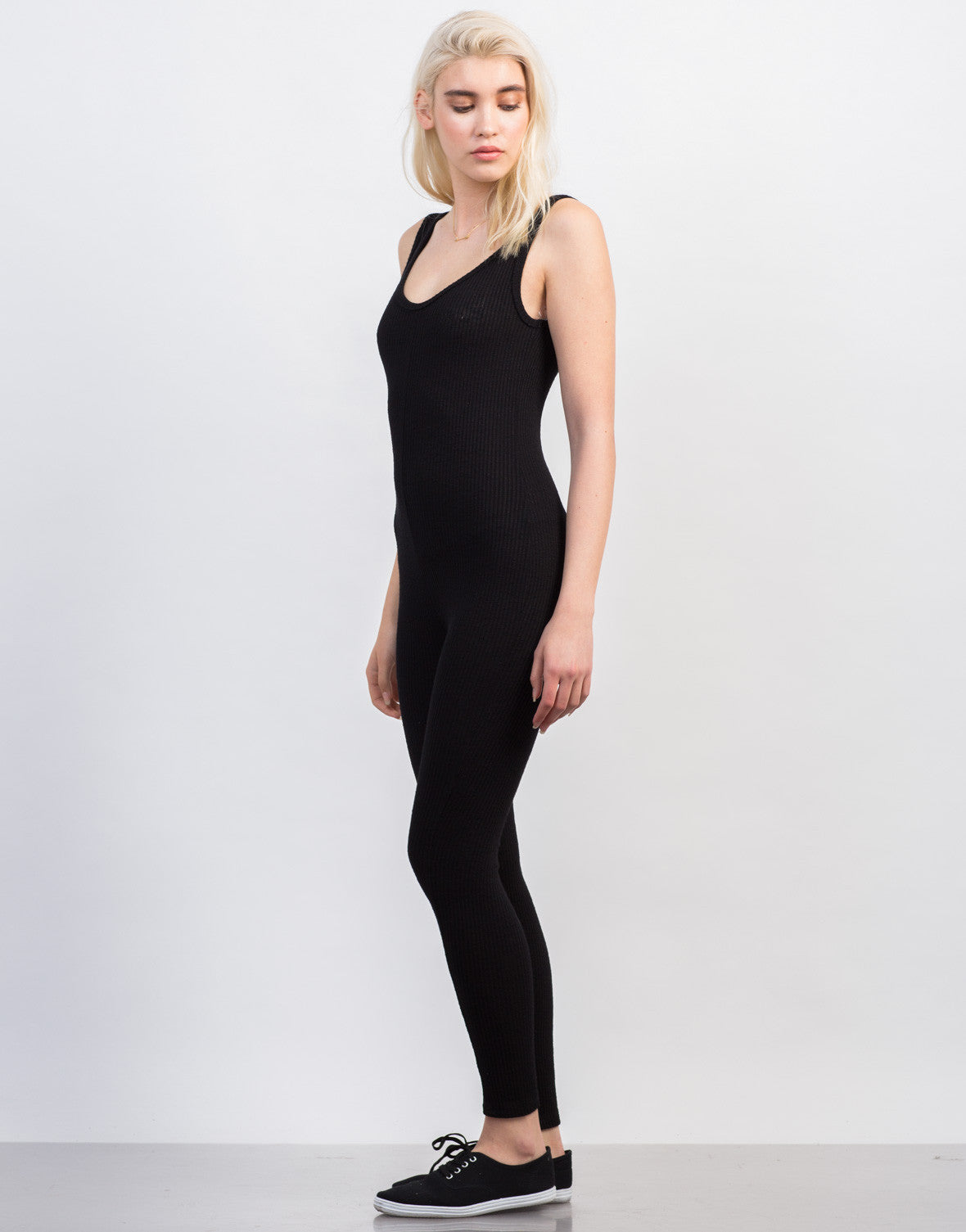 Side View of Rib Knit Tank Jumpsuit