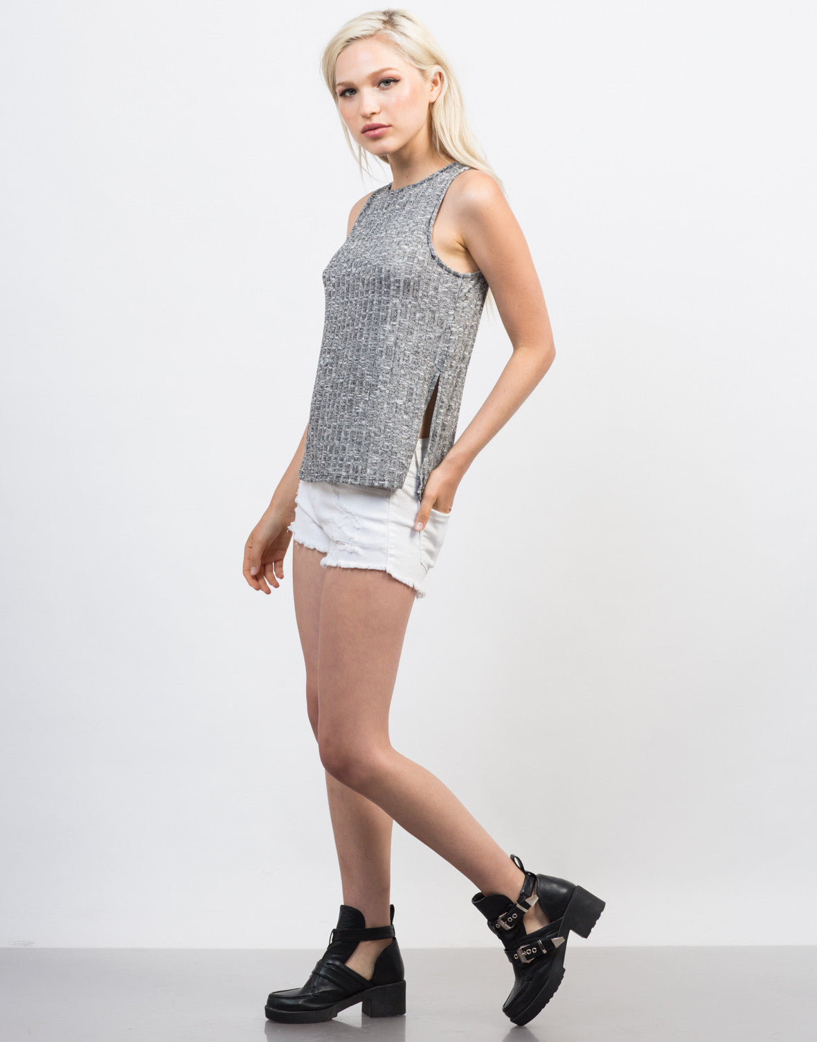 Side View of Rib Knit Tank Top
