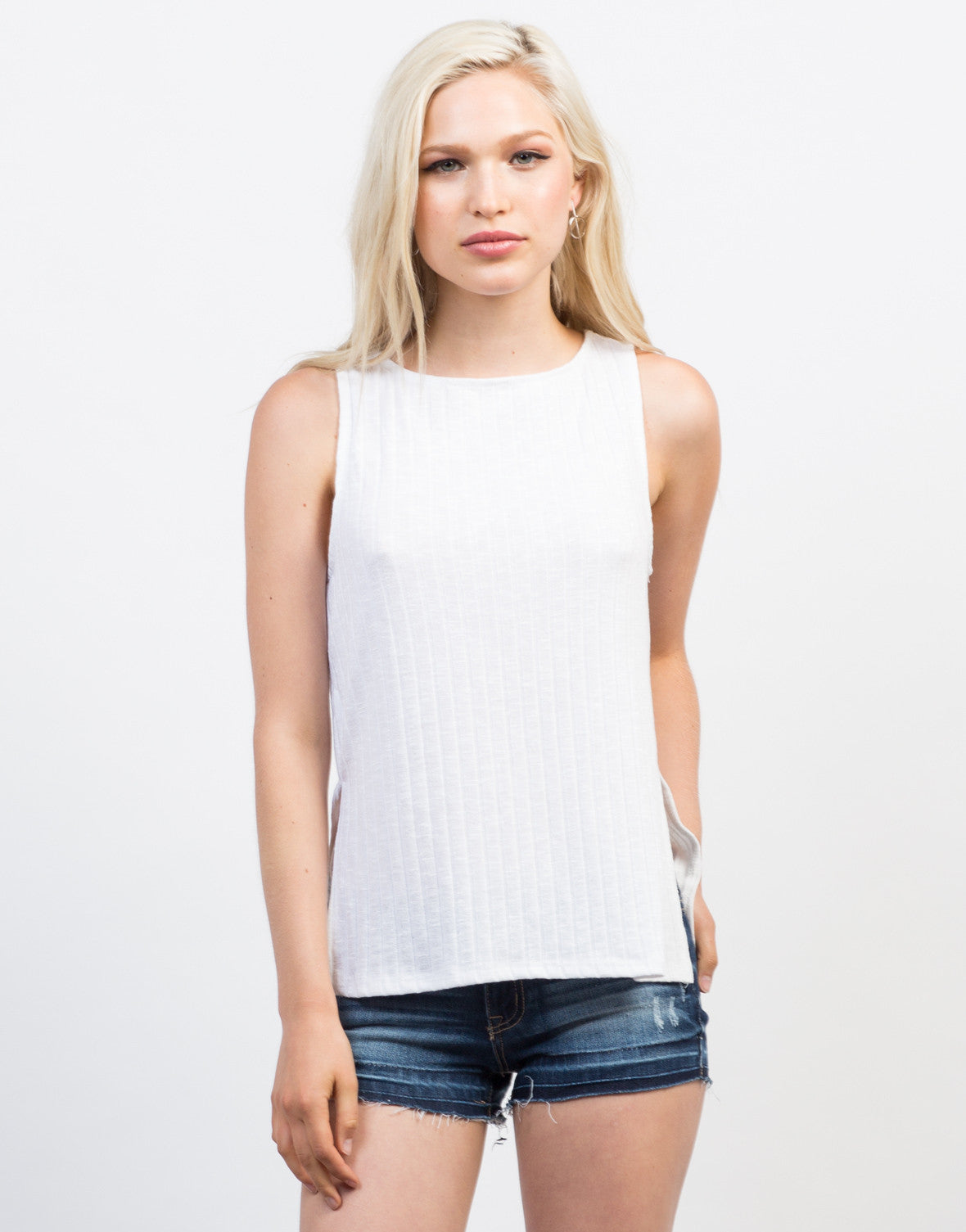 Front View of Rib Knit Tank Top