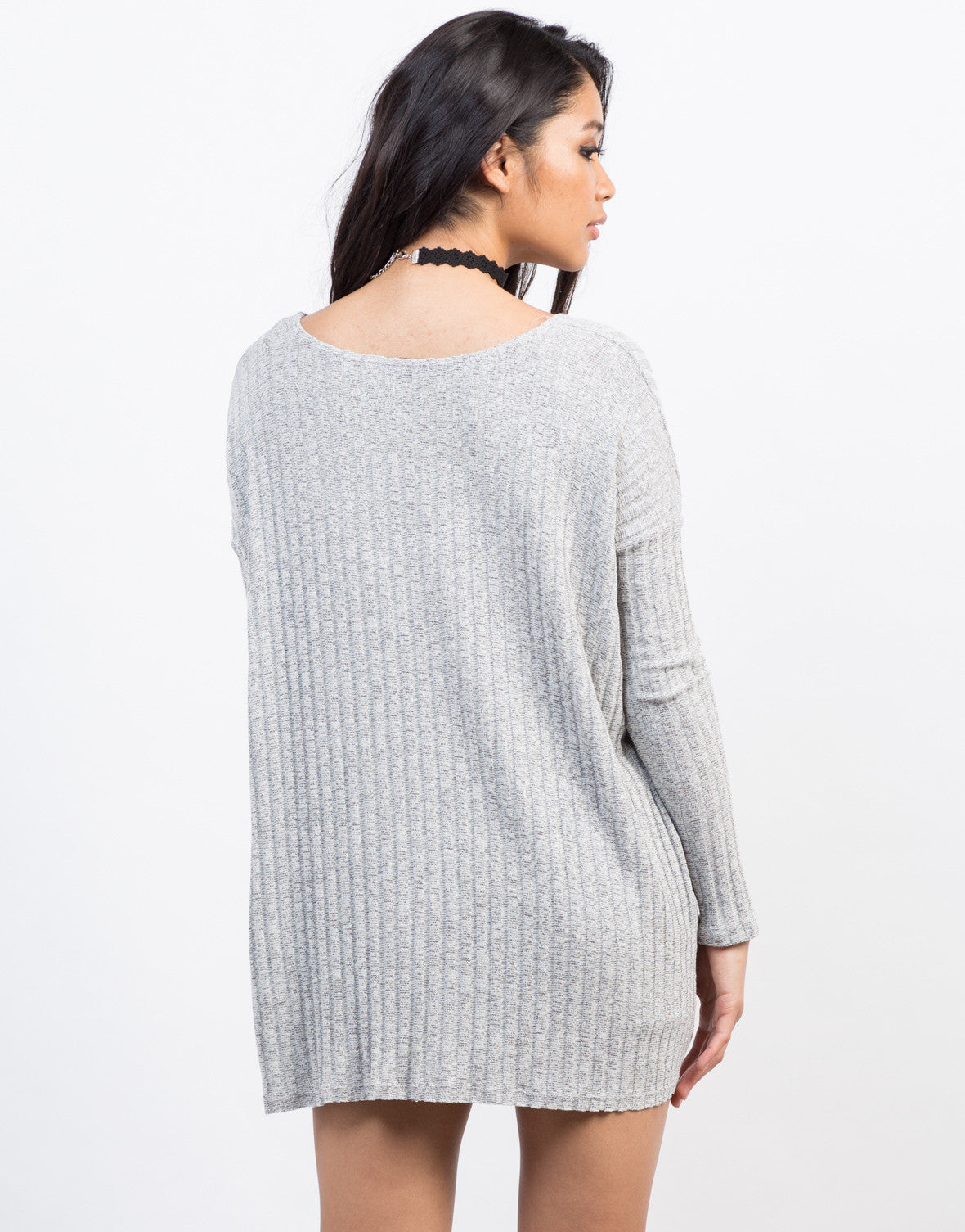 Back View of Rib Knit Top