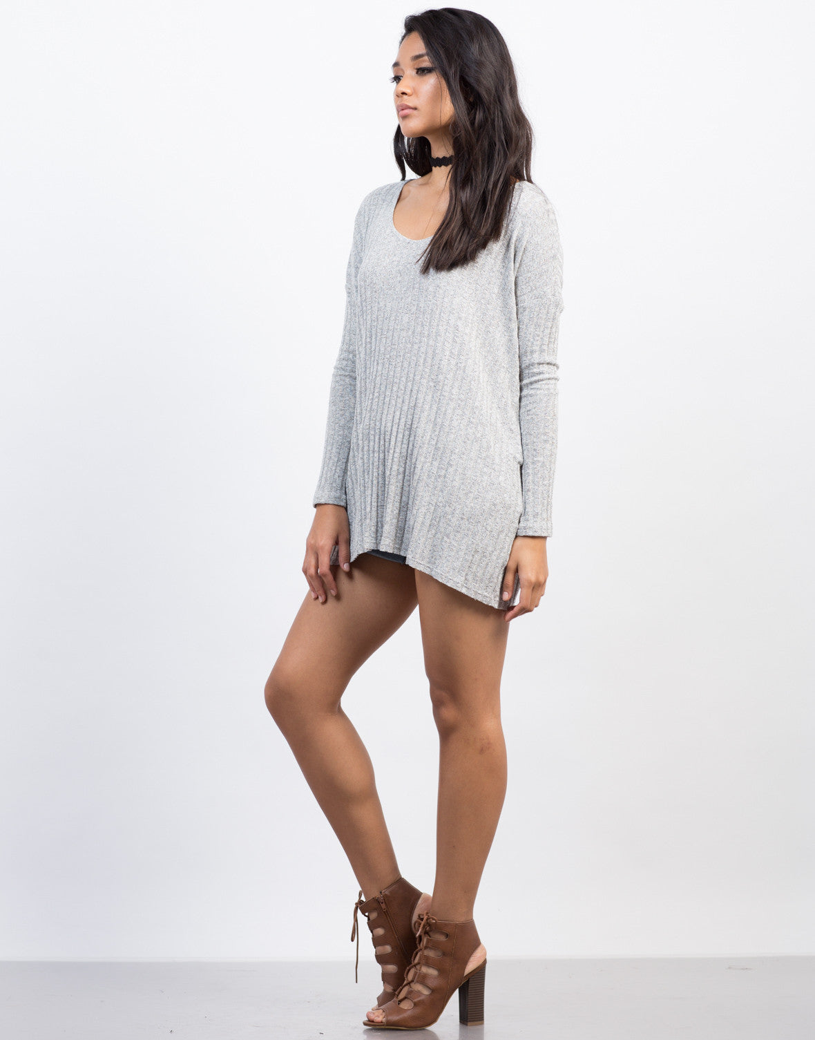 Side View of Rib Knit Top