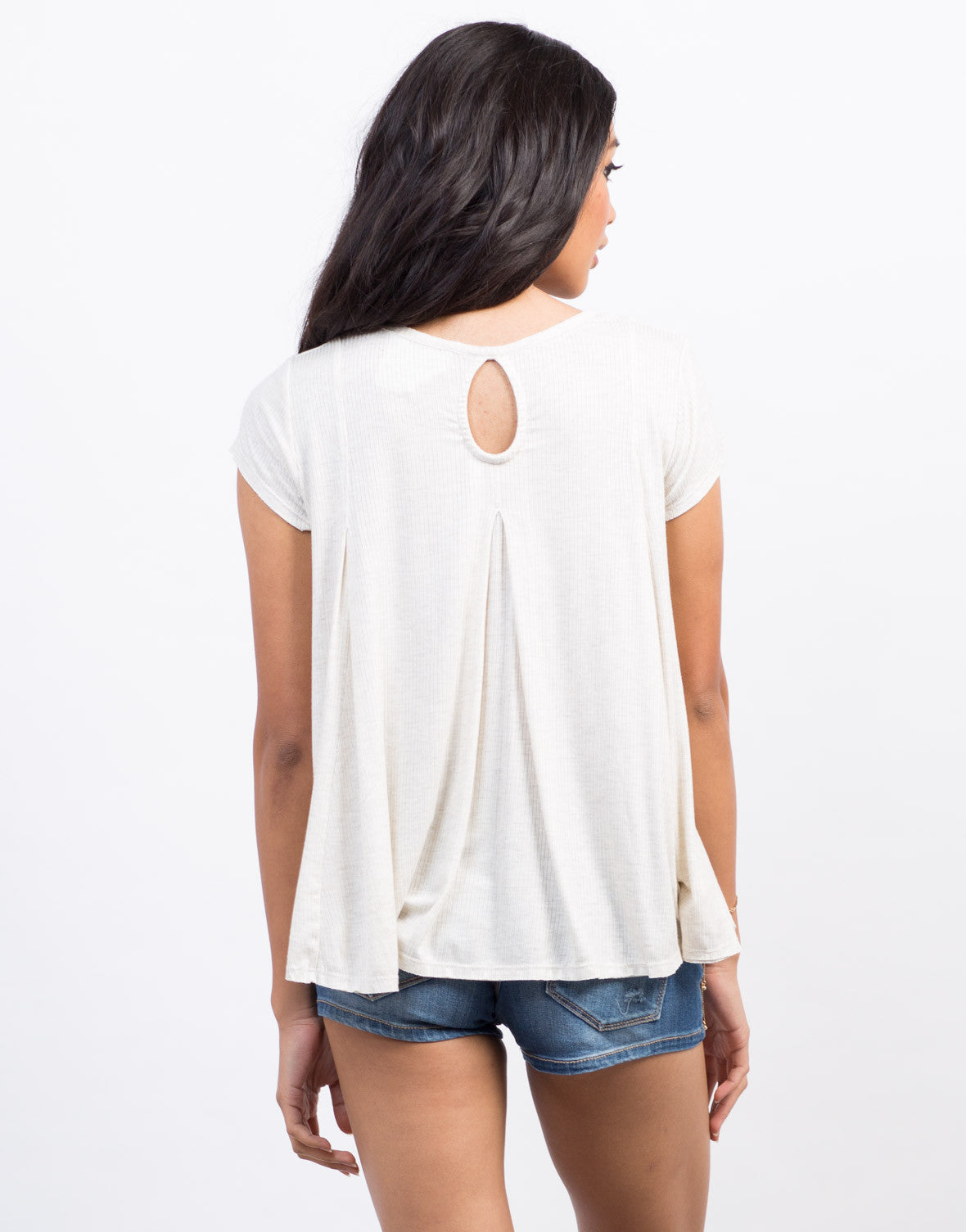 Back View of Ribbed Babydoll Tee