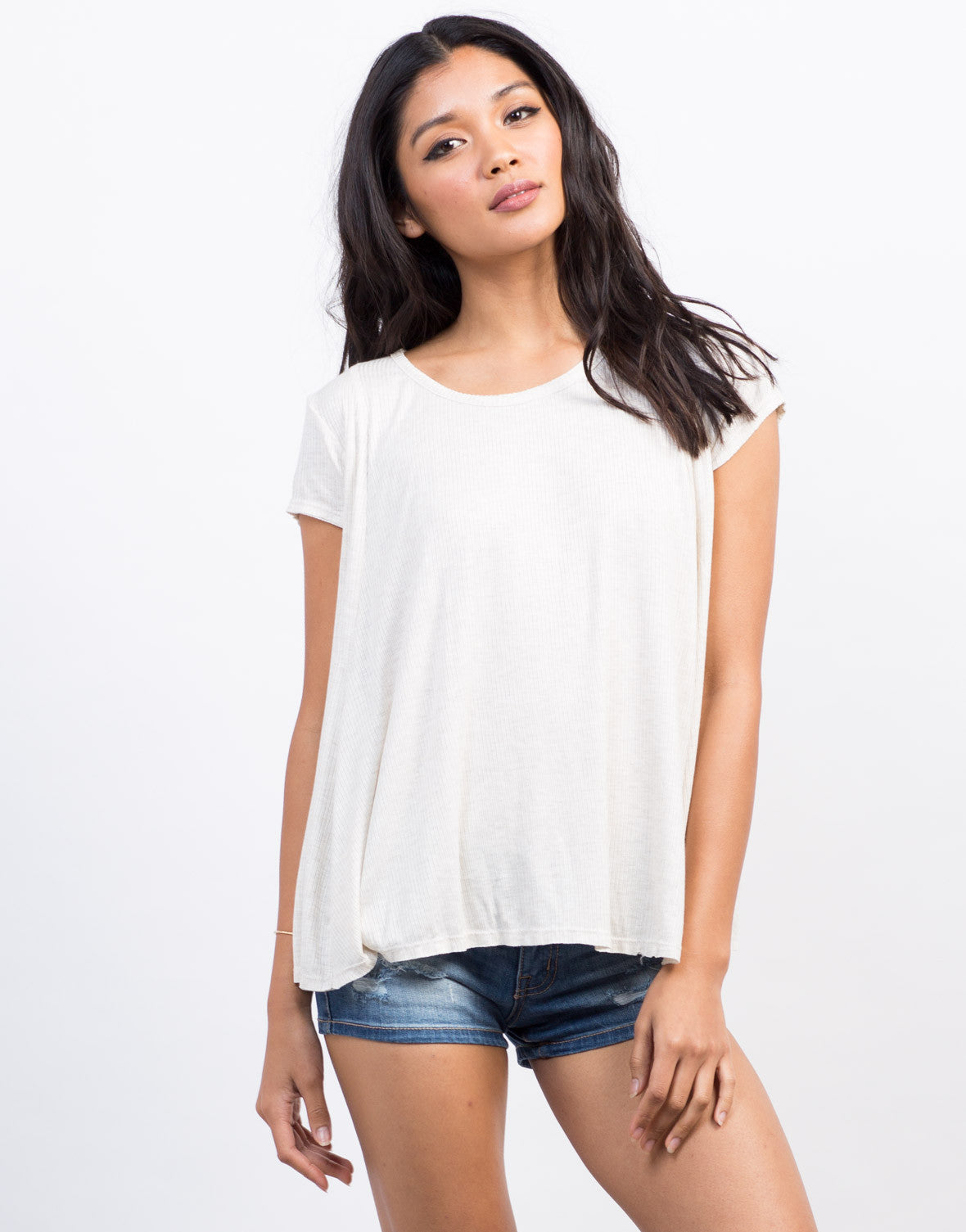 Front View of Ribbed Babydoll Tee