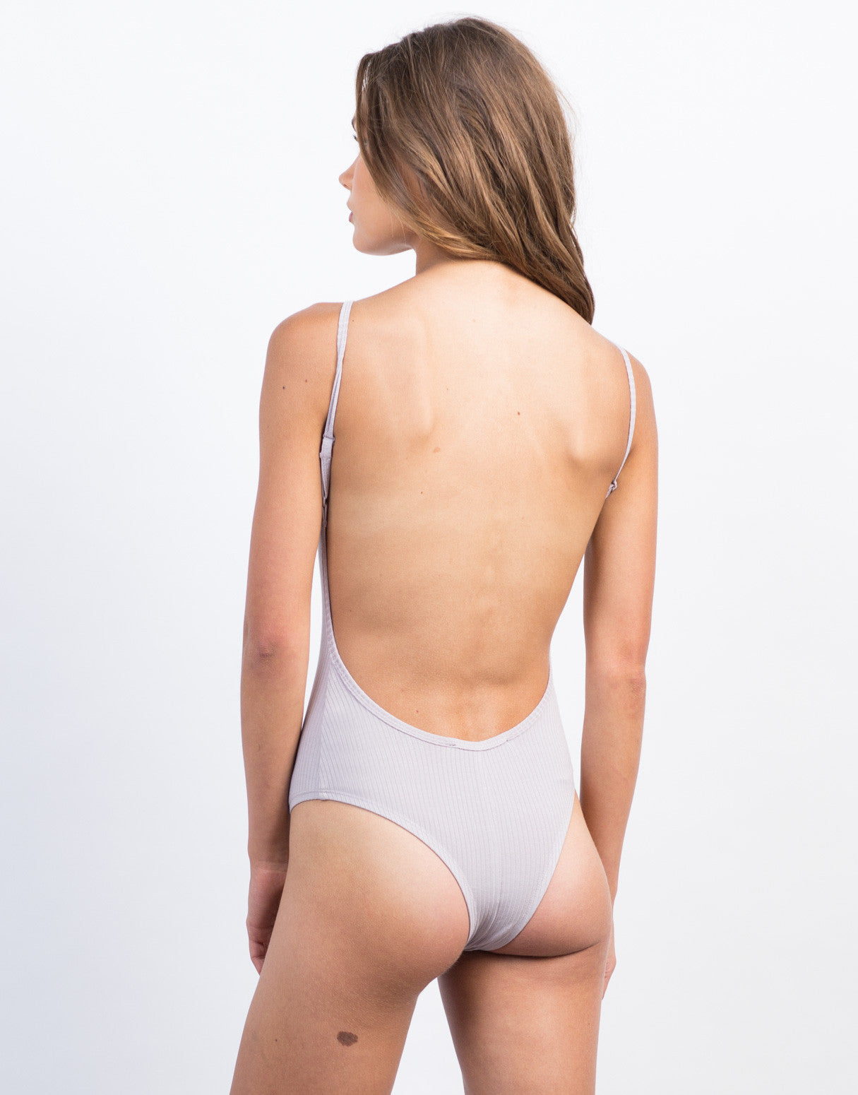 Back View of Ribbed Backless Bodysuit