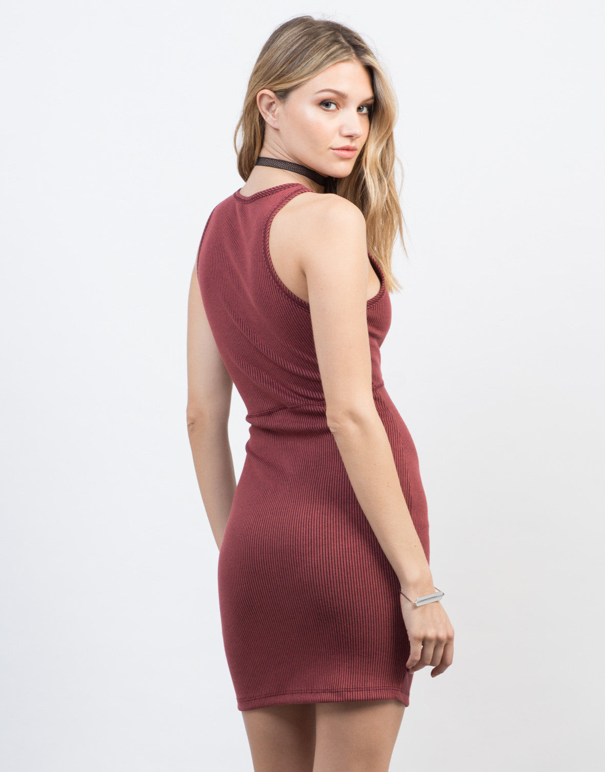 Back View of Ribbed Bodycon Lace-Up Dress