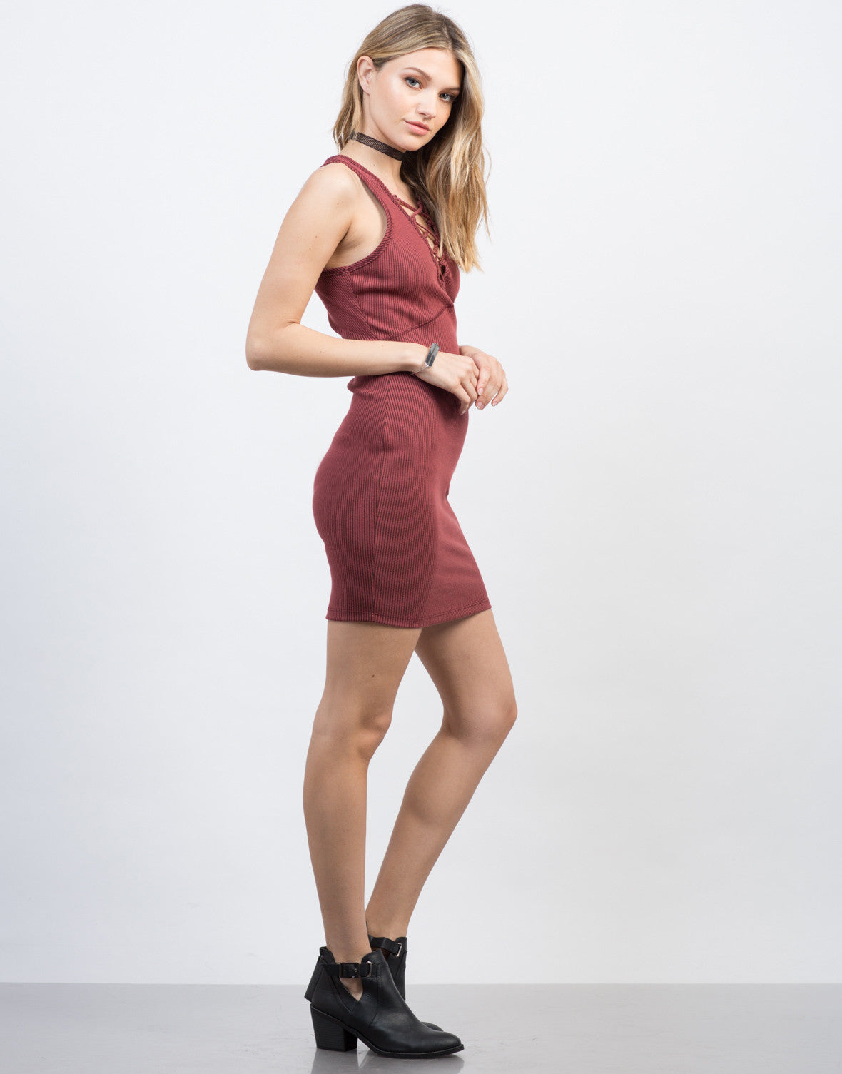 Side View of Ribbed Bodycon Lace-Up Dress