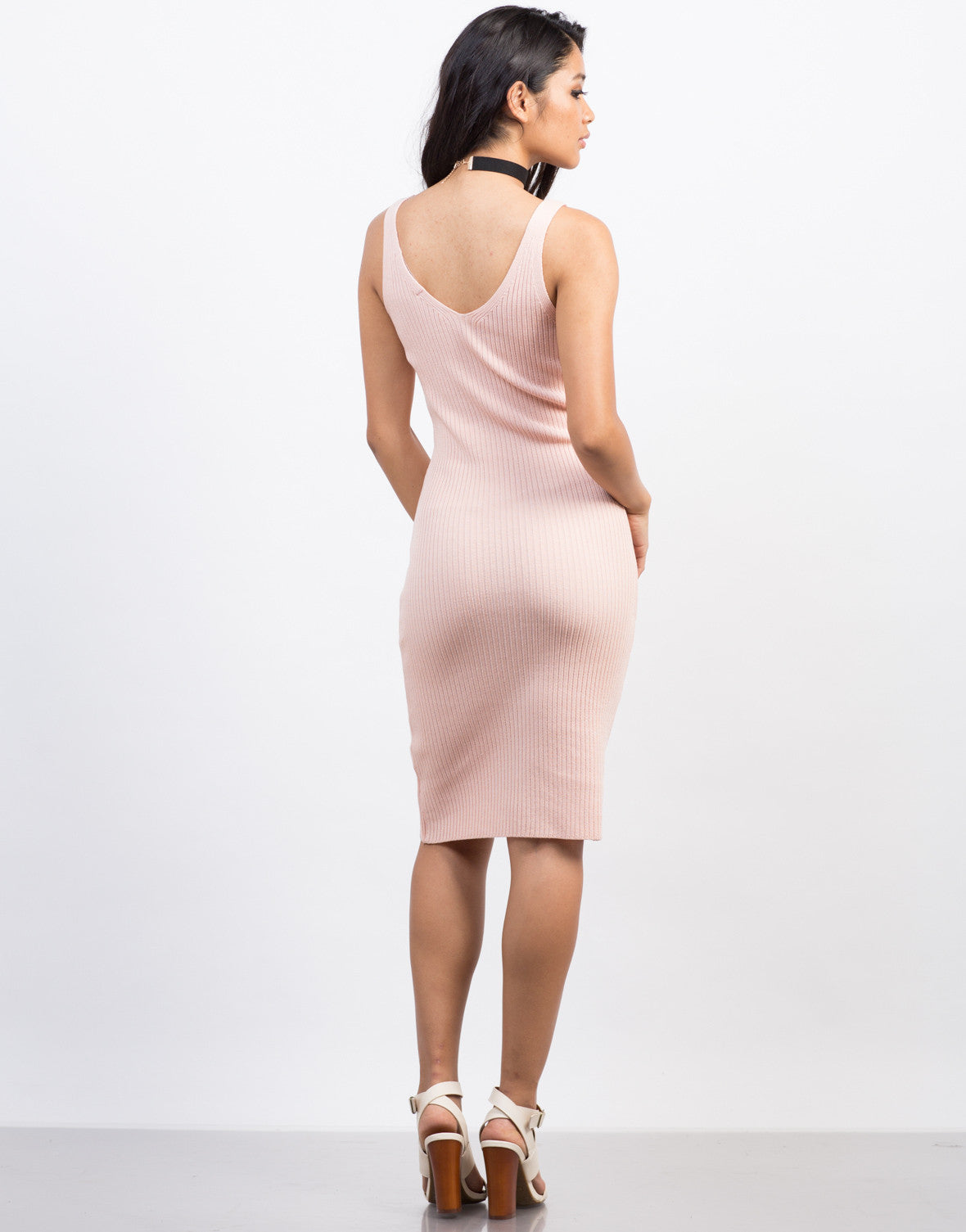 Back View of Ribbed Bodycon Midi Dress