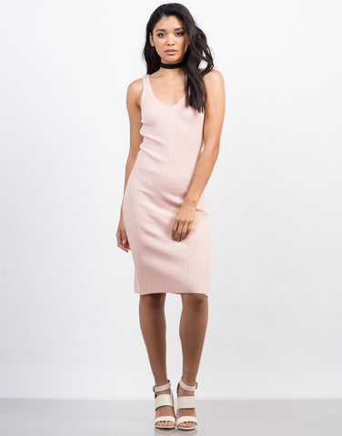 Front View of Ribbed Bodycon Midi Dress