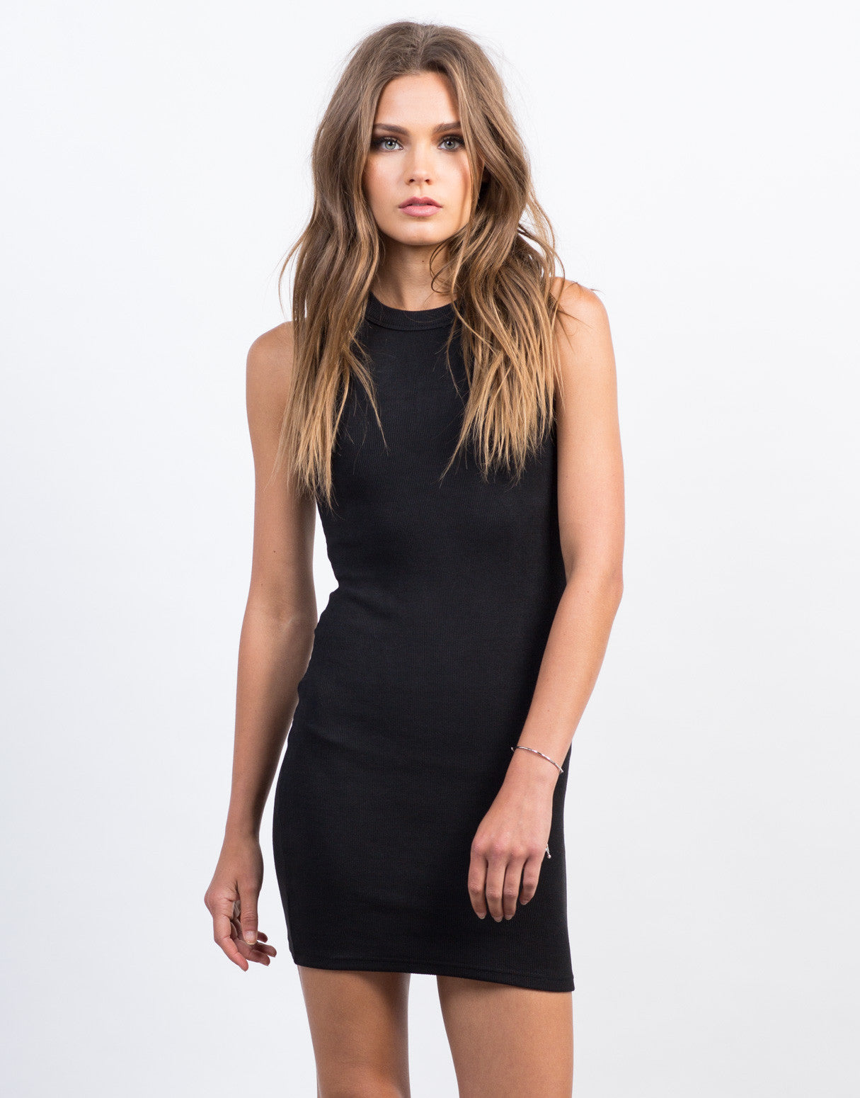 Front View of Ribbed Bodycon Tank Dress