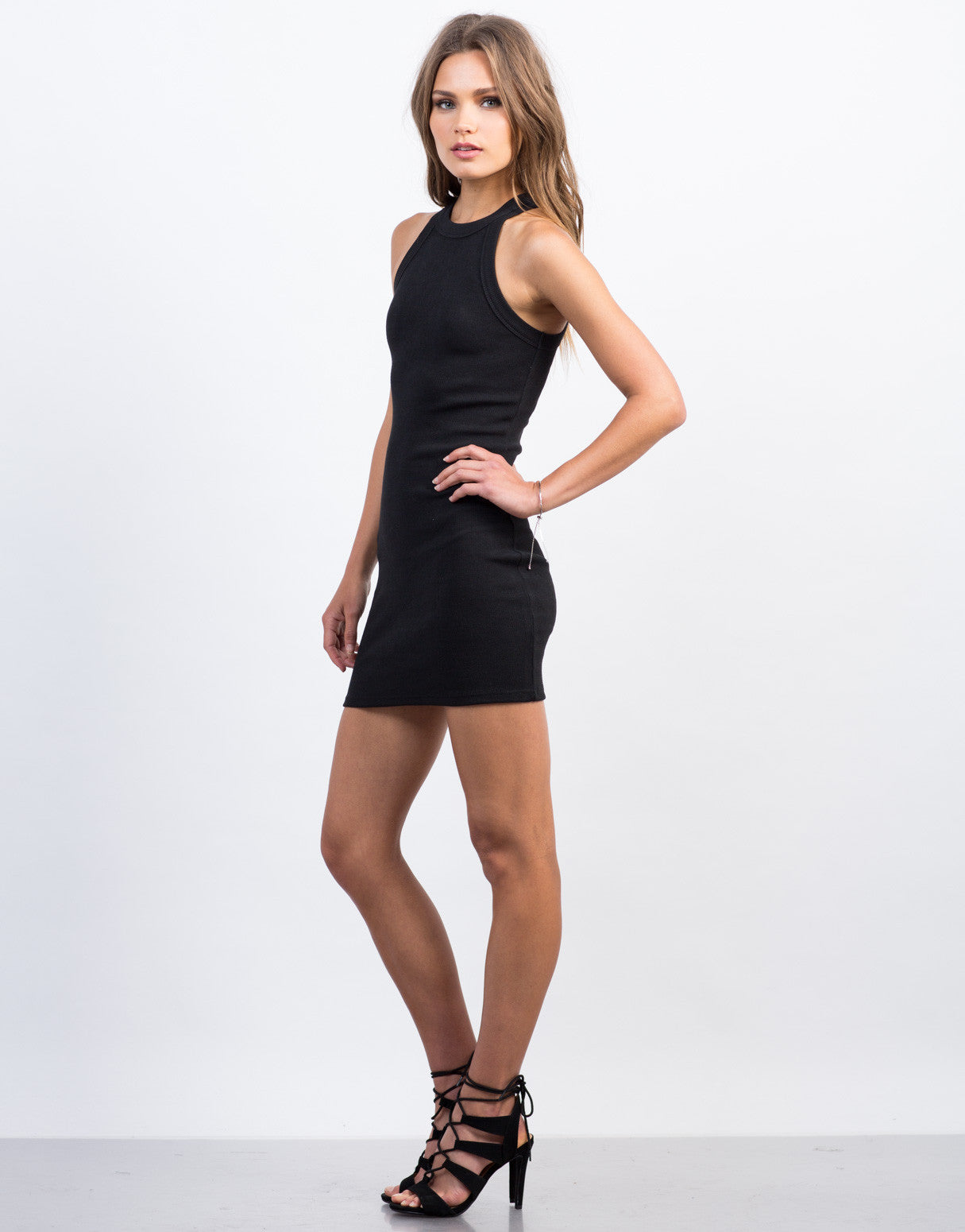Side View of Ribbed Bodycon Tank Dress