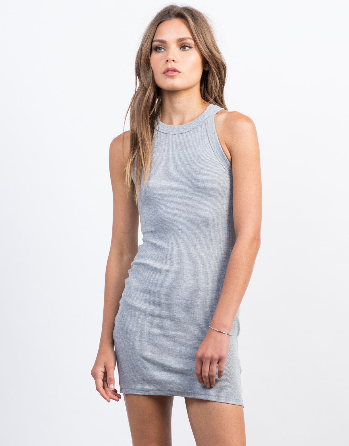 Ribbed Bodycon Tank Dress Racerback Dress Casual Day