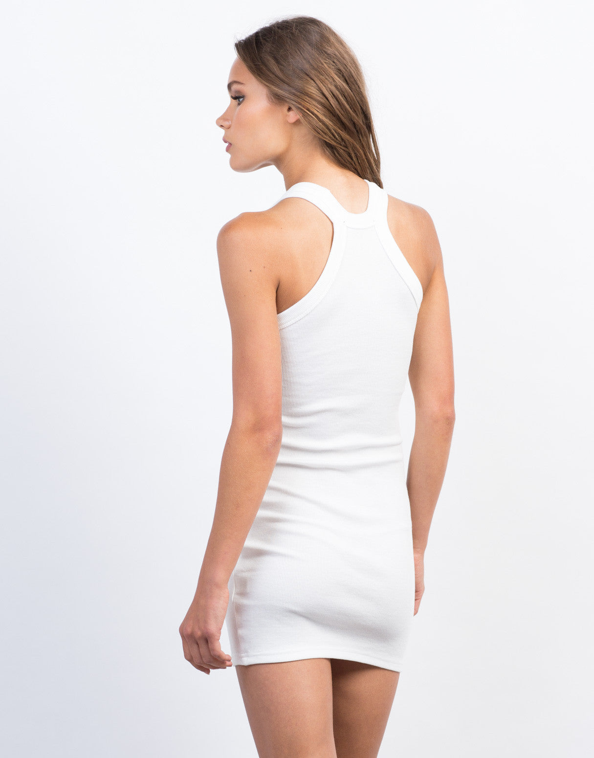 Back View of Ribbed Bodycon Tank Dress
