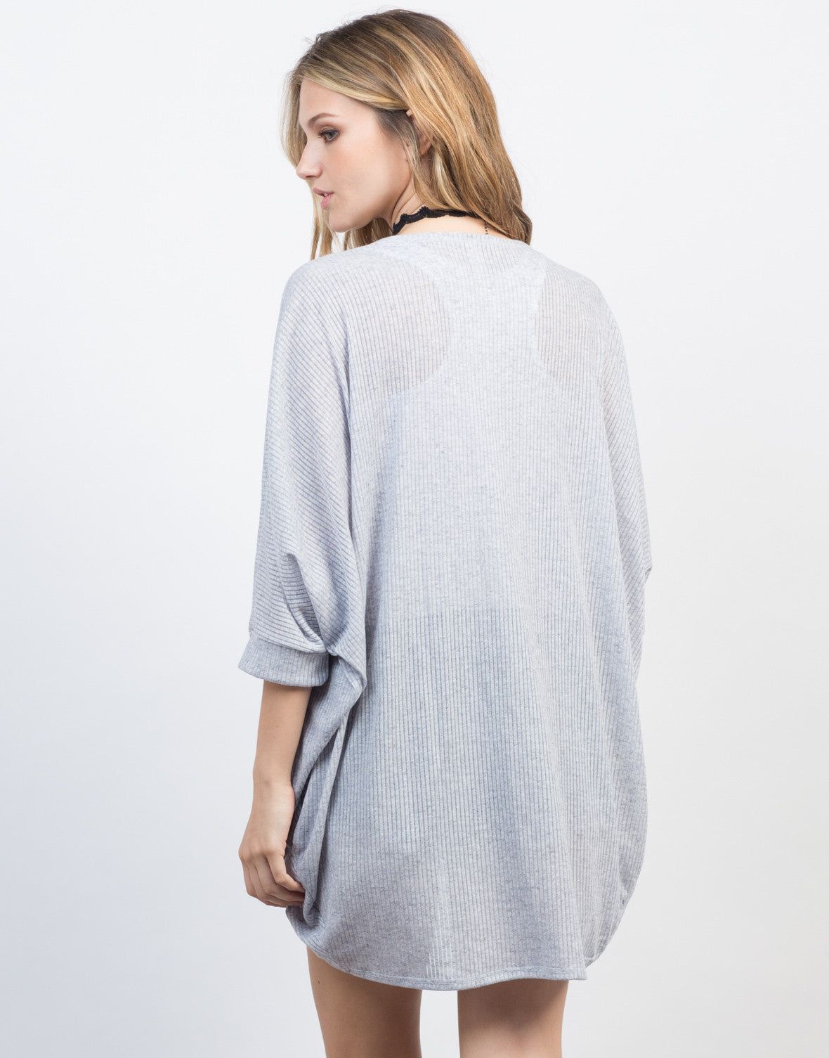 Back View of Ribbed Cacoon Cardigan