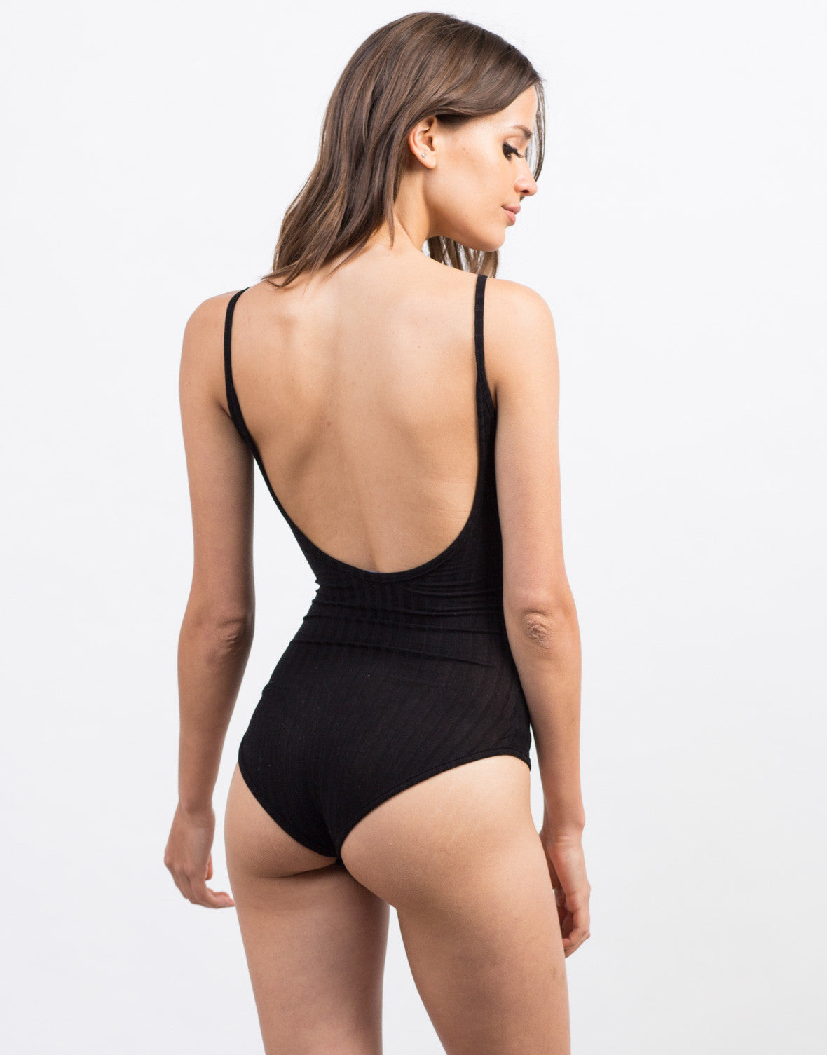 Back View of Ribbed Cami Bodysuit