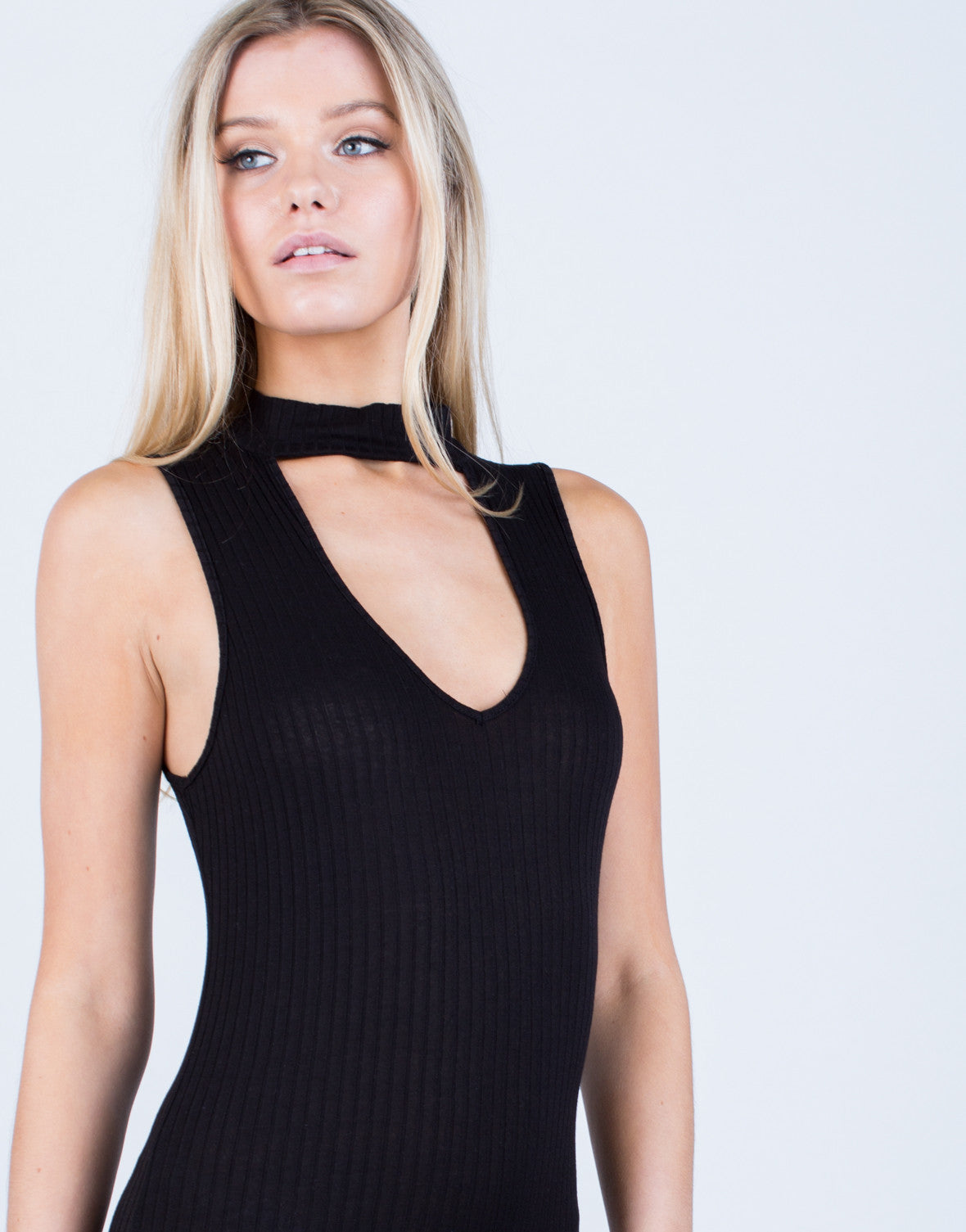 Detail of Ribbed Choker Bodysuit