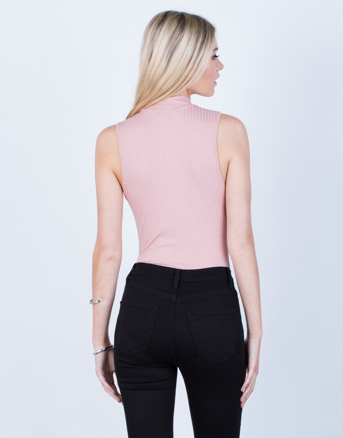 Back View of Ribbed Choker Bodysuit