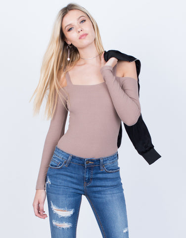 Ribbed Cold Shoulder Bodysuit