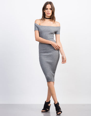Front View of Ribbed Cold Shoulder Dress